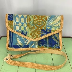 Tapa Print Boho Canvas Handbag by Victoria USA